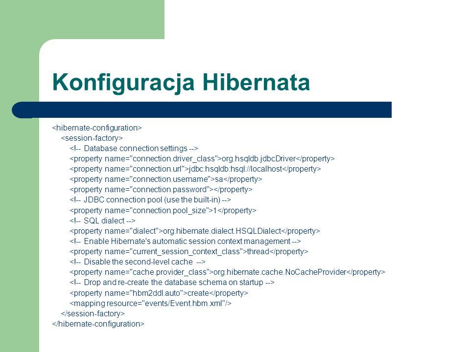 Konfiguracja Hibernata org.hsqldb.jdbcDriver jdbc:hsqldb:hsql://localhost sa 1 org.hibernate.dialect.HSQLDialect thread org.hibernate.cache.NoCachePro