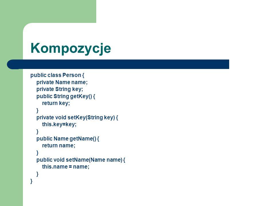 Kompozycje public class Person { private Name name; private String key; public String getKey() { return key; } private void setKey(String key) { this.