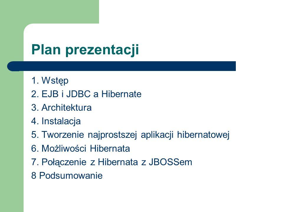 Plan prezentacji 1. Wstęp 2. EJB i JDBC a Hibernate 3. Architektura 4. Instalacja 5. Tworzenie najprostszej aplikacji hibernatowej 6. Możliwości Hiber