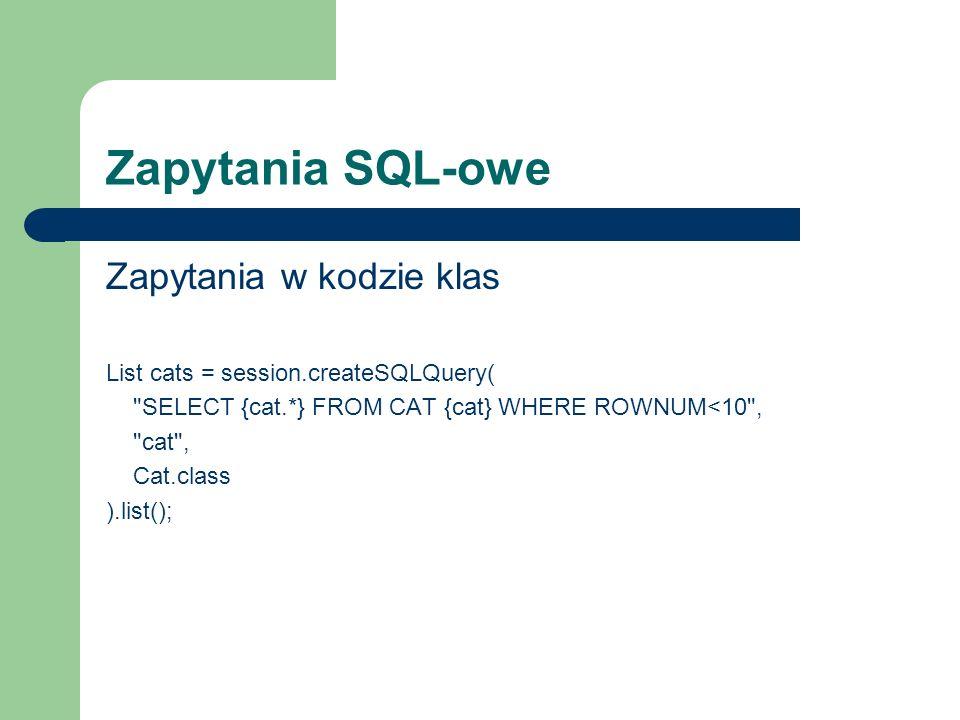 Zapytania SQL-owe Zapytania w kodzie klas List cats = session.createSQLQuery(