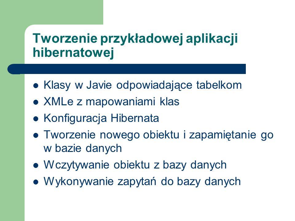 Tworzenie przykładowej aplikacji hibernatowej Klasy w Javie odpowiadające tabelkom XMLe z mapowaniami klas Konfiguracja Hibernata Tworzenie nowego obi