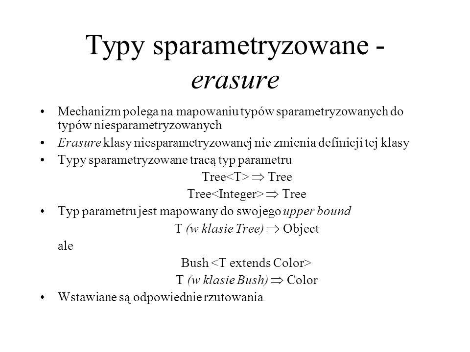 Typy sparametryzowane - erasure Mechanizm polega na mapowaniu typów sparametryzowanych do typów niesparametryzowanych Erasure klasy niesparametryzowan