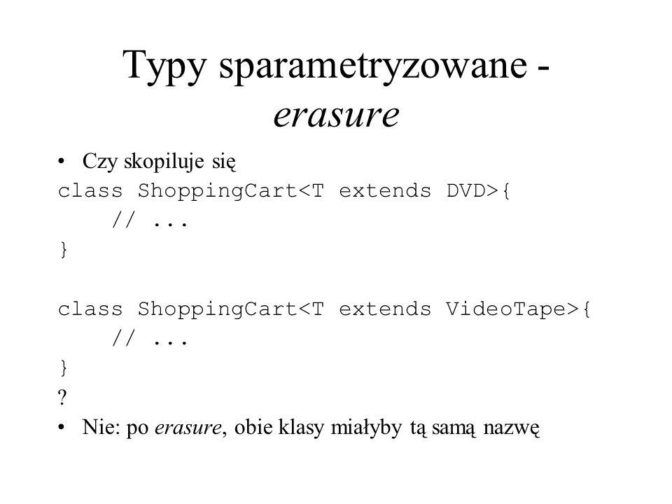 Typy sparametryzowane - erasure Czy skopiluje się class ShoppingCart { //... } class ShoppingCart { //... } ? Nie: po erasure, obie klasy miałyby tą s