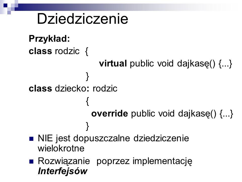 Dziedziczenie Przykład: class rodzic { virtual public void dajkasę() {...} } class dziecko: rodzic { override public void dajkasę() {...} } NIE jest d
