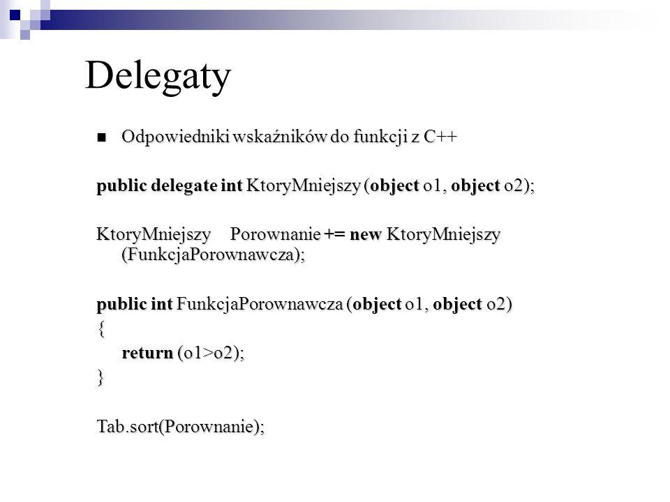Odpowiedniki wskaźników do funkcji z C++ Odpowiedniki wskaźników do funkcji z C++ public delegate int KtoryMniejszy (object o1, object o2); KtoryMniej