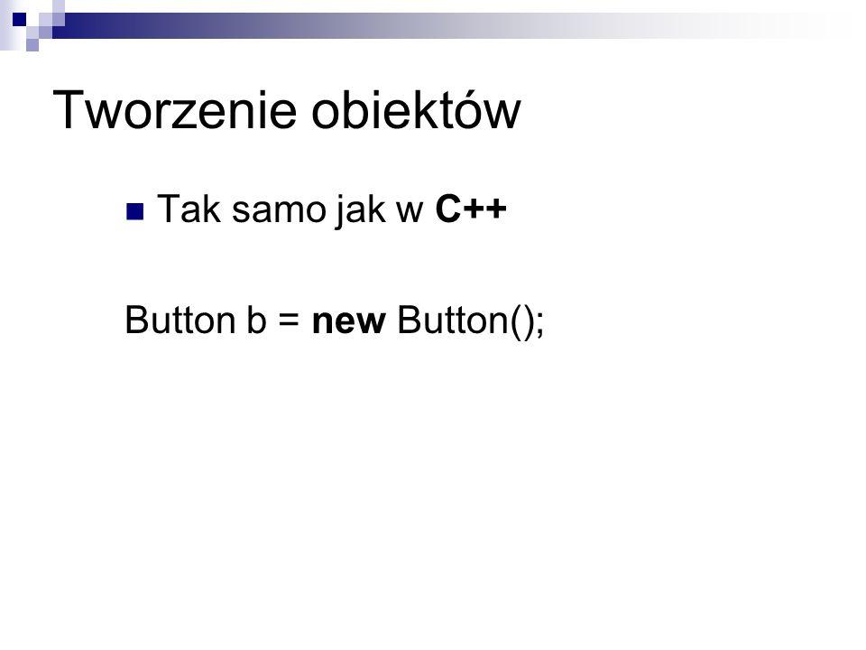 Tworzenie obiektów Tak samo jak w C++ Button b = new Button();