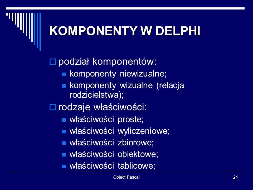 Object Pascal24 KOMPONENTY W DELPHI podział komponentów: komponenty niewizualne; komponenty wizualne (relacja rodzicielstwa); rodzaje właściwości: wła