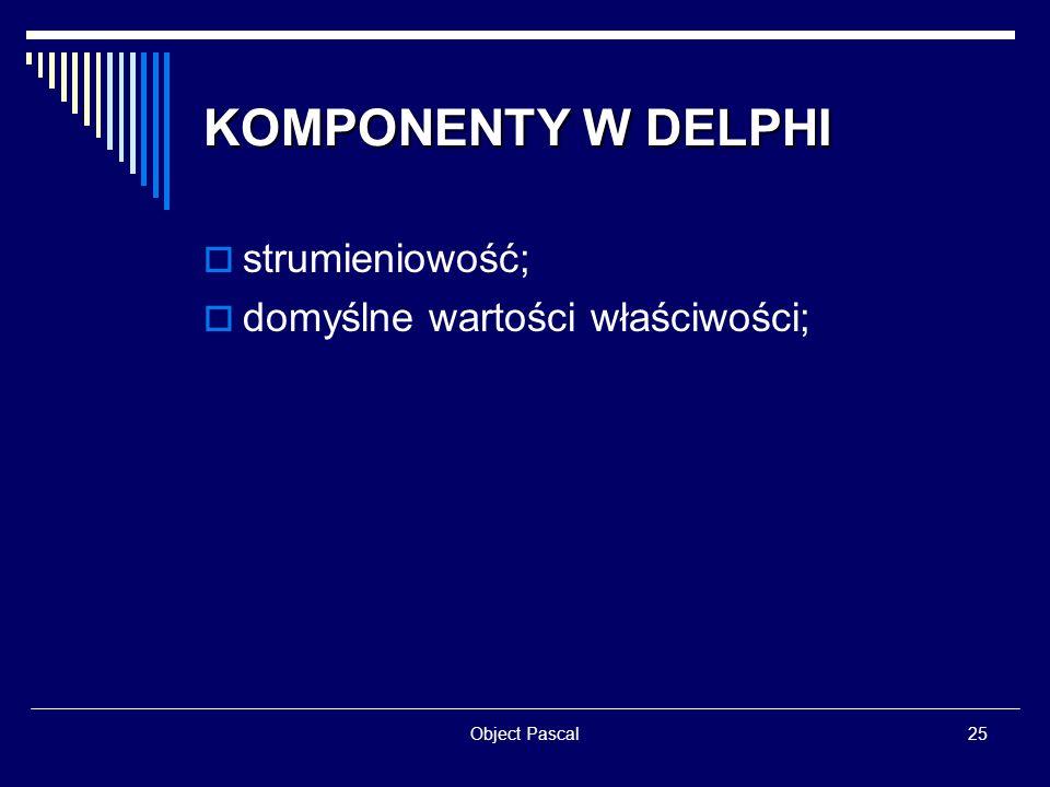 Object Pascal25 KOMPONENTY W DELPHI strumieniowość; domyślne wartości właściwości;