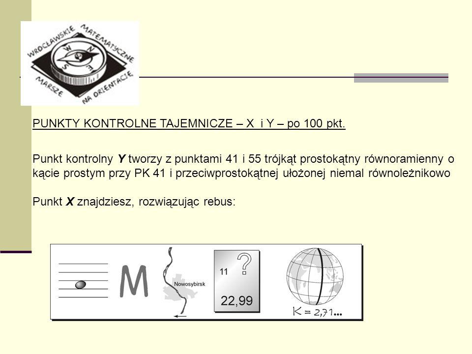 PUNKTY KONTROLNE TAJEMNICZE – X i Y – po 100 pkt. Punkt kontrolny Y tworzy z punktami 41 i 55 trójkąt prostokątny równoramienny o kącie prostym przy P