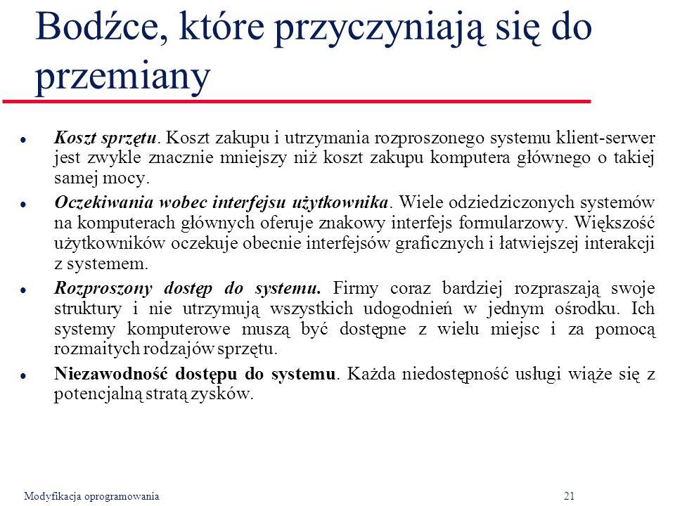 Modyfikacja oprogramowania21 Bodźce, które przyczyniają się do przemiany l Koszt sprzętu.