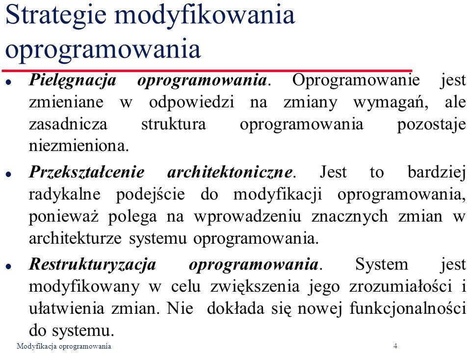 Modyfikacja oprogramowania4 Strategie modyfikowania oprogramowania l Pielęgnacja oprogramowania.