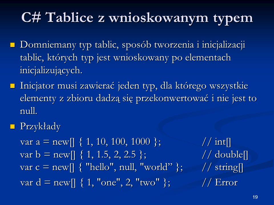 19 C# Tablice z wnioskowanym typem Domniemany typ tablic, sposób tworzenia i inicjalizacji tablic, których typ jest wnioskowany po elementach inicjali
