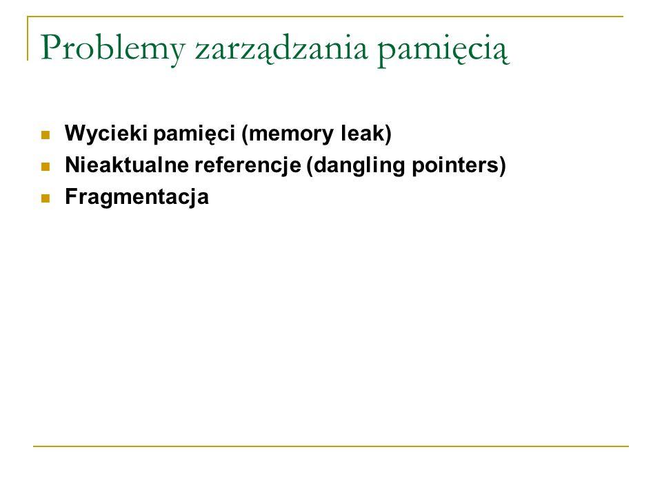 Problemy zarządzania pamięcią Wycieki pamięci (memory leak) Nieaktualne referencje (dangling pointers) Fragmentacja
