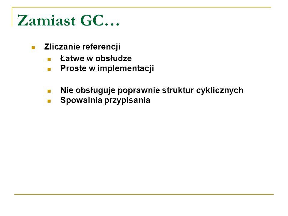 Zamiast GC… Zliczanie referencji Łatwe w obsłudze Proste w implementacji Nie obsługuje poprawnie struktur cyklicznych Spowalnia przypisania