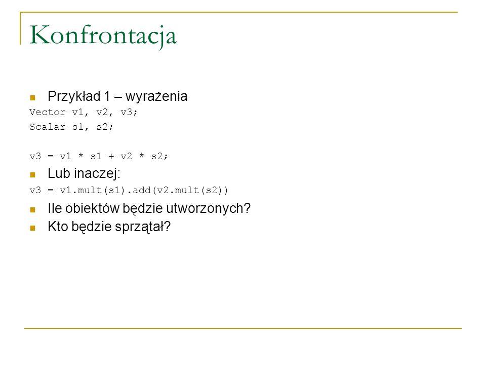 Konfrontacja Przykład 1 – wyrażenia Vector v1, v2, v3; Scalar s1, s2; v3 = v1 * s1 + v2 * s2; Lub inaczej: v3 = v1.mult(s1).add(v2.mult(s2)) Ile obiek