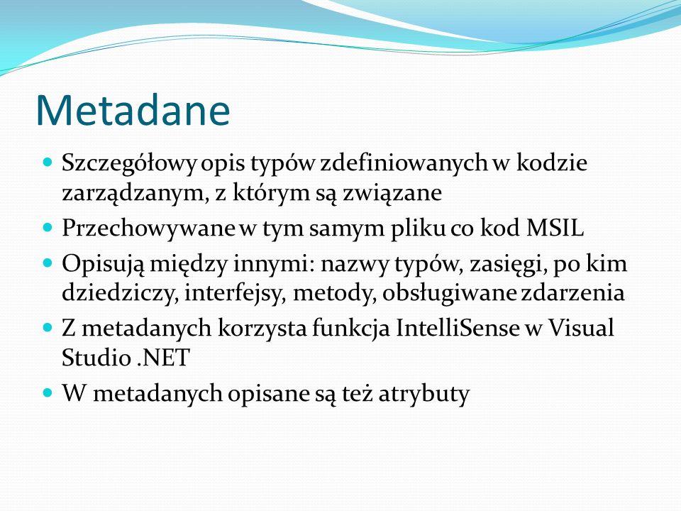 Metadane Szczegółowy opis typów zdefiniowanych w kodzie zarządzanym, z którym są związane Przechowywane w tym samym pliku co kod MSIL Opisują między i