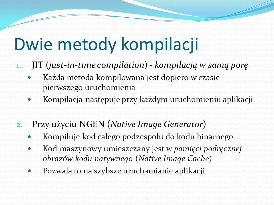 Dwie metody kompilacji 1. JIT (just-in-time compilation) - kompilacją w samą porę Każda metoda kompilowana jest dopiero w czasie pierwszego uruchomien