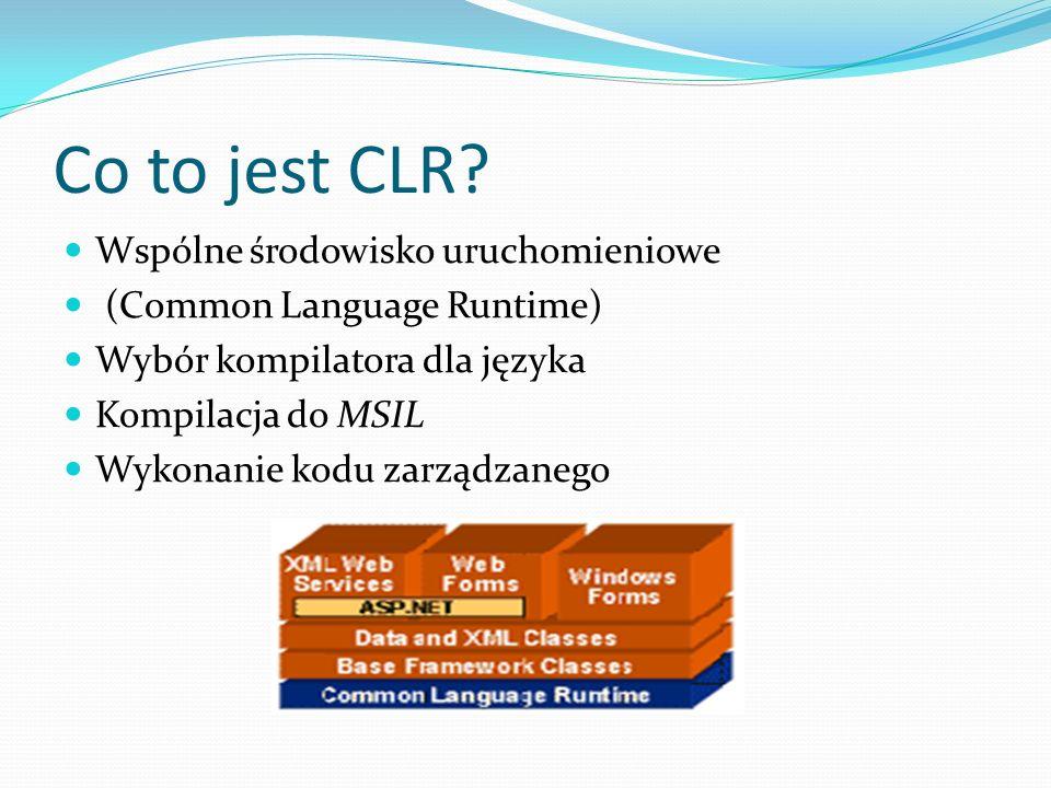 Co to jest CLR? Wspólne środowisko uruchomieniowe (Common Language Runtime) Wybór kompilatora dla języka Kompilacja do MSIL Wykonanie kodu zarządzaneg