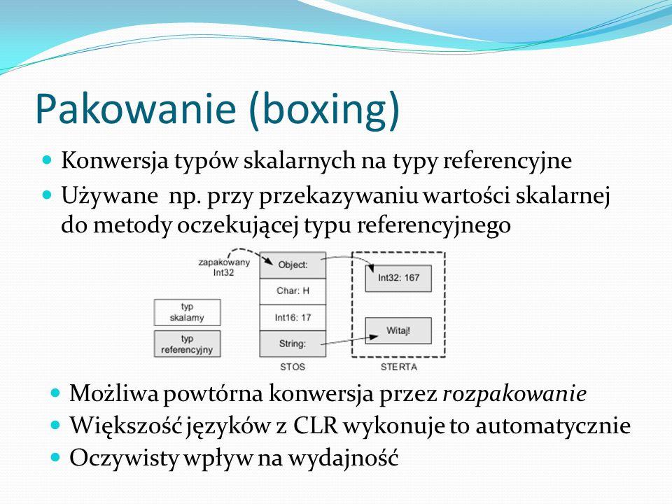 Pakowanie (boxing) Konwersja typów skalarnych na typy referencyjne Używane np. przy przekazywaniu wartości skalarnej do metody oczekującej typu refere