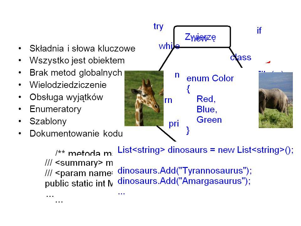Składnia i słowa kluczowe Wszystko jest obiektem Brak metod globalnych Wielodziedziczenie Obsługa wyjątków Enumeratory Szablony Dokumentowanie kodu