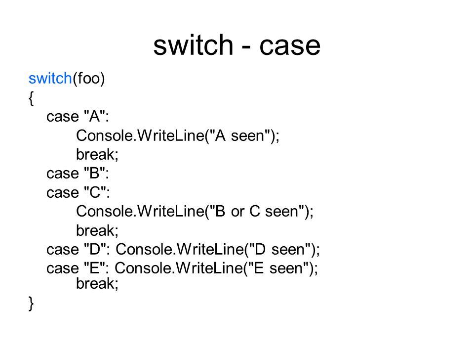 switch - case switch(foo) { case