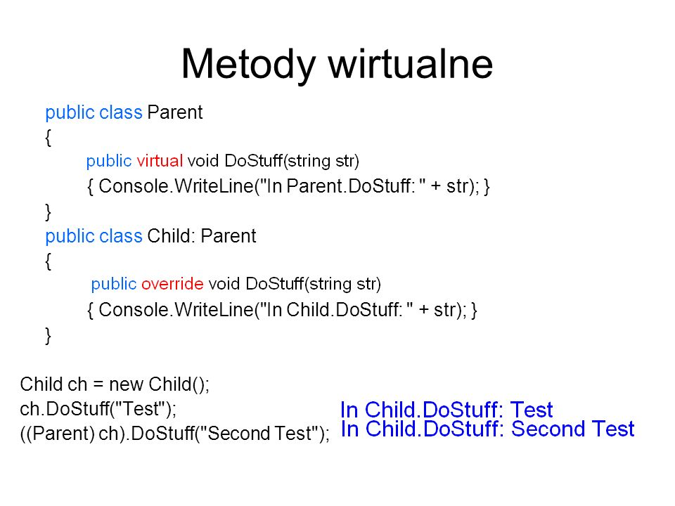 Metody wirtualne public class Parent { public void DoStuff(string str) { Console.WriteLine(