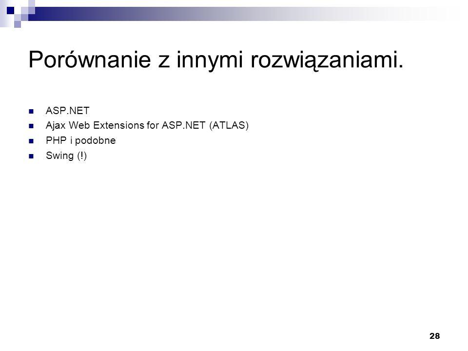 28 Porównanie z innymi rozwiązaniami. ASP.NET Ajax Web Extensions for ASP.NET (ATLAS) PHP i podobne Swing (!)