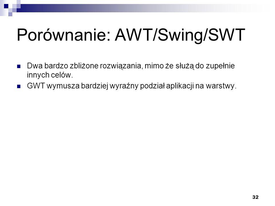 32 Porównanie: AWT/Swing/SWT Dwa bardzo zbliżone rozwiązania, mimo że służą do zupełnie innych celów. GWT wymusza bardziej wyraźny podział aplikacji n