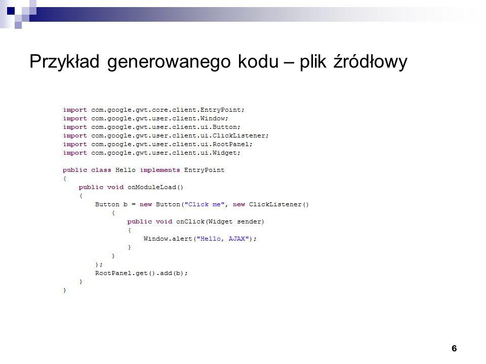 6 Przykład generowanego kodu – plik źródłowy