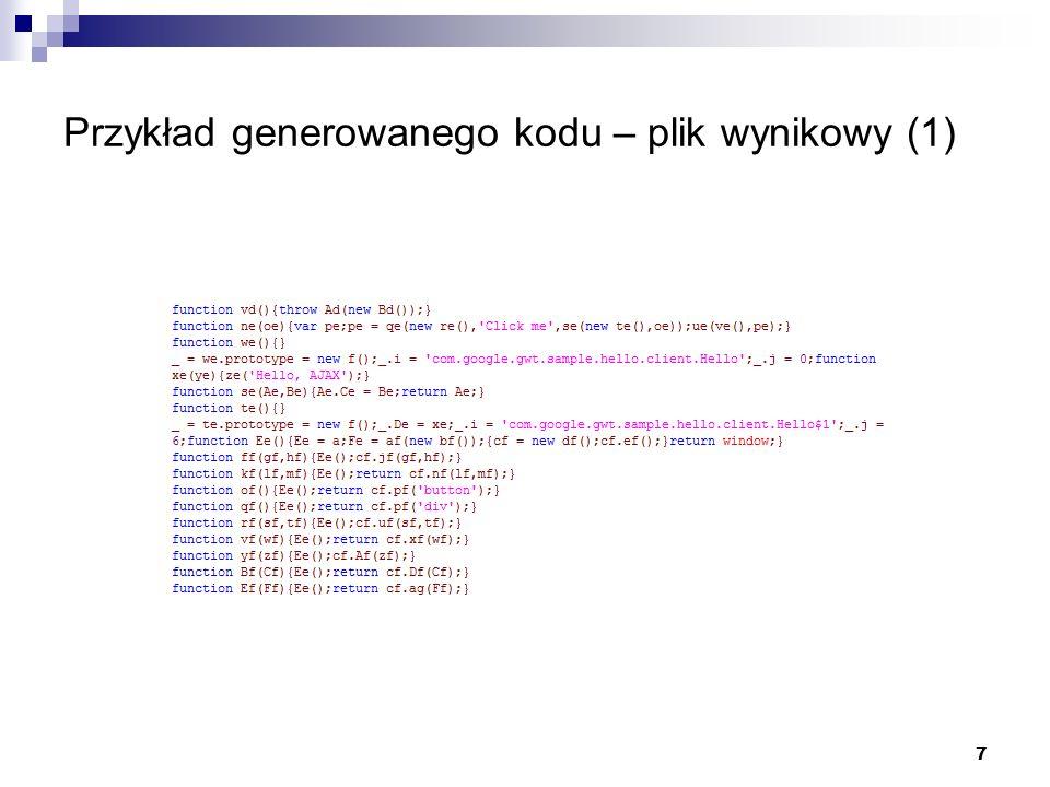 7 Przykład generowanego kodu – plik wynikowy (1)