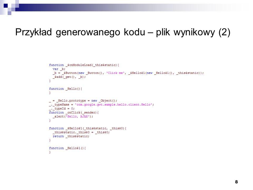 8 Przykład generowanego kodu – plik wynikowy (2)