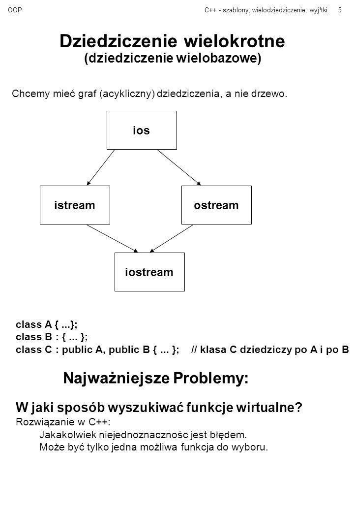 OOPC++ - szablony, wielodziedziczenie, wyj¹tki5 Dziedziczenie wielokrotne (dziedziczenie wielobazowe) Chcemy mieć graf (acykliczny) dziedziczenia, a n