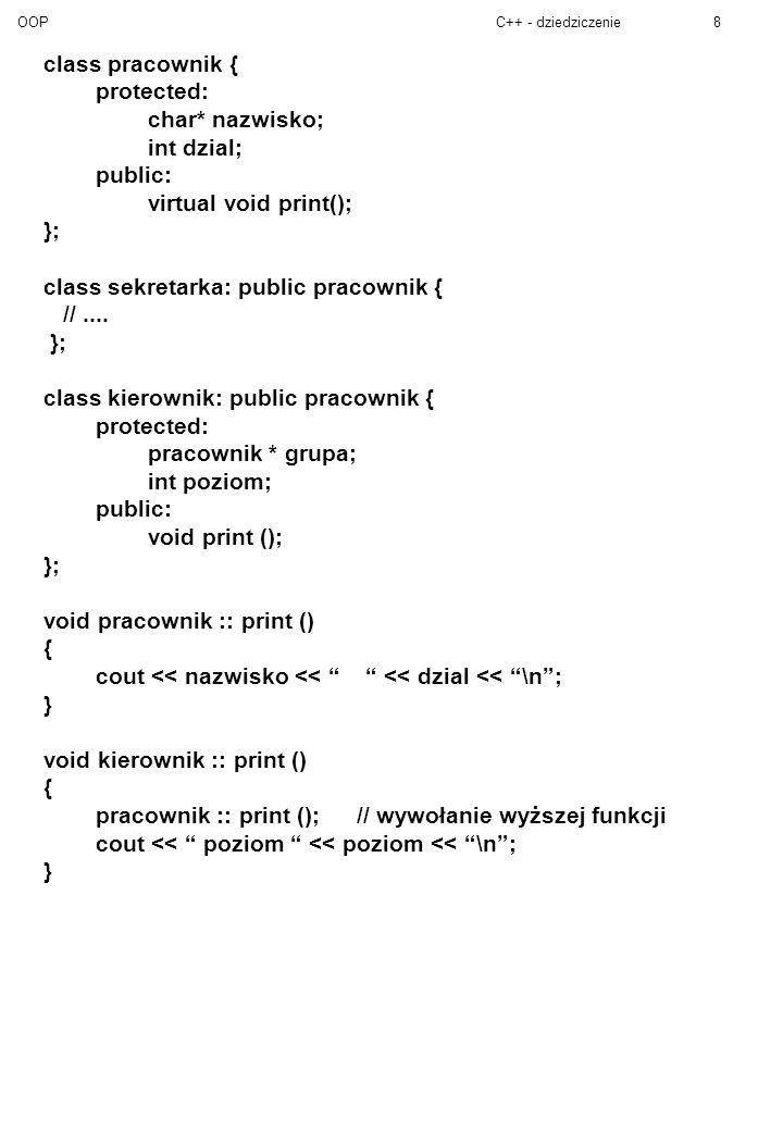 OOPC++ - dziedziczenie8 class pracownik { protected: char* nazwisko; int dzial; public: virtual void print(); }; class sekretarka: public pracownik { //....