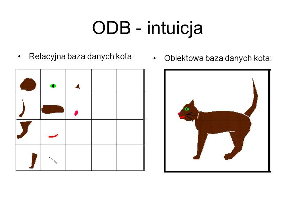 ODB - intuicja Relacyjna baza danych kota: Obiektowa baza danych kota: