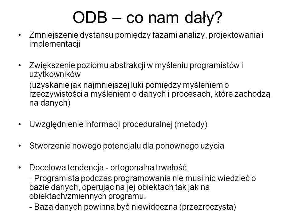 ODB – co nam dały? Zmniejszenie dystansu pomiędzy fazami analizy, projektowania i implementacji Zwiększenie poziomu abstrakcji w myśleniu programistów