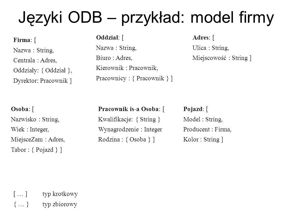 Języki ODB – przykład: model firmy Firma: [ Nazwa : String, Centrala : Adres, Oddziały: { Oddział }, Dyrektor: Pracownik ] Oddział: [ Nazwa : String,