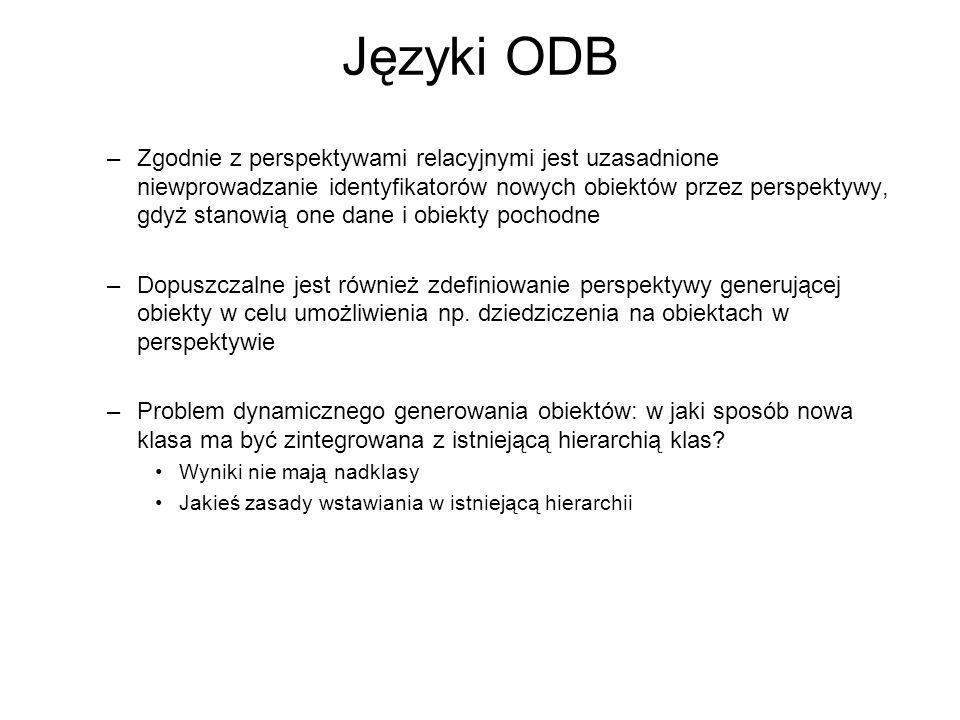 Języki ODB –Zgodnie z perspektywami relacyjnymi jest uzasadnione niewprowadzanie identyfikatorów nowych obiektów przez perspektywy, gdyż stanowią one