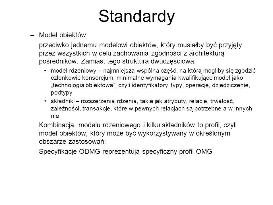 Standardy –Model obiektów: przeciwko jednemu modelowi obiektów, który musiałby być przyjęty przez wszystkich w celu zachowania zgodności z architektur