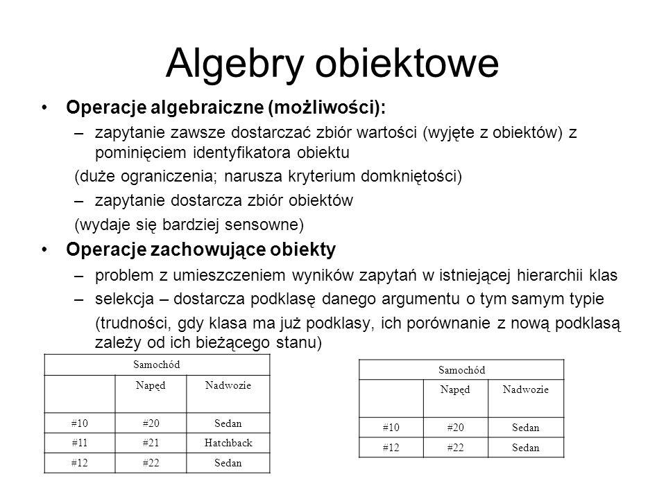 Algebry obiektowe Operacje algebraiczne (możliwości): –zapytanie zawsze dostarczać zbiór wartości (wyjęte z obiektów) z pominięciem identyfikatora obi