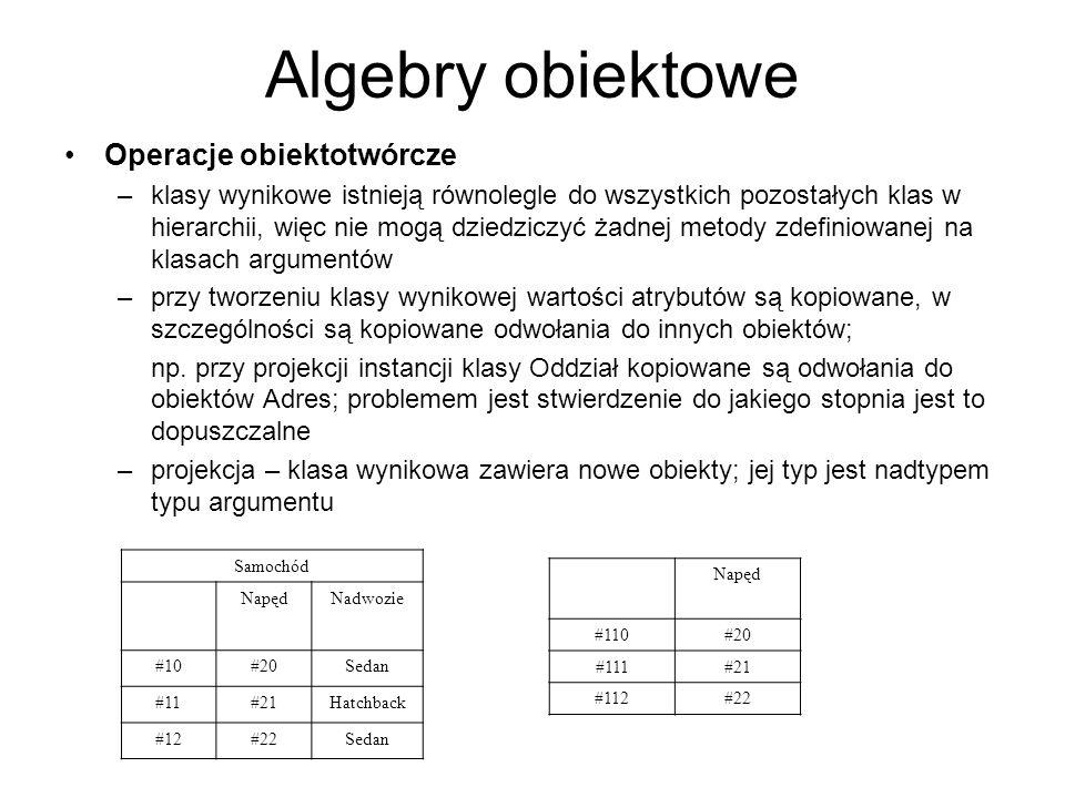 Algebry obiektowe Operacje obiektotwórcze –klasy wynikowe istnieją równolegle do wszystkich pozostałych klas w hierarchii, więc nie mogą dziedziczyć ż