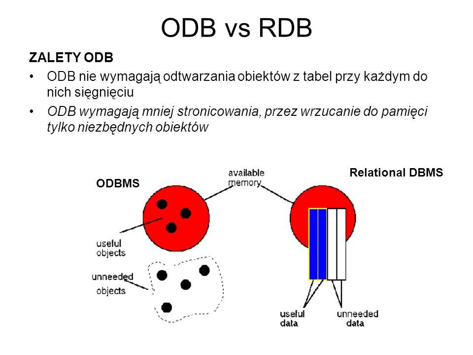 ODB vs RDB ZALETY ODB ODB nie wymagają odtwarzania obiektów z tabel przy każdym do nich sięgnięciu ODB wymagają mniej stronicowania, przez wrzucanie d