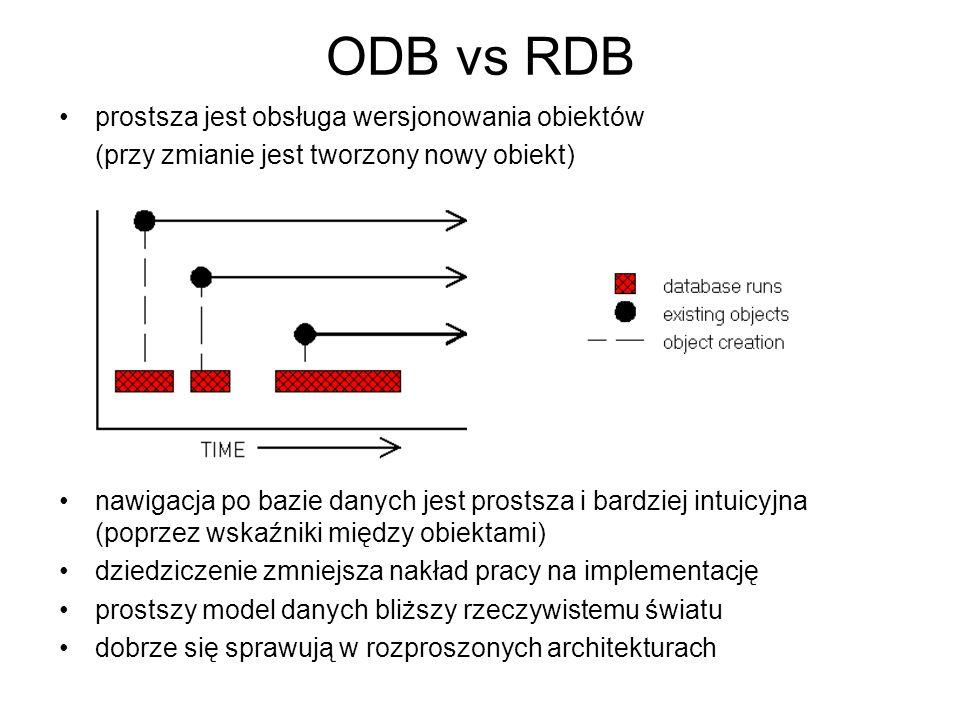 ODB vs RDB prostsza jest obsługa wersjonowania obiektów (przy zmianie jest tworzony nowy obiekt) nawigacja po bazie danych jest prostsza i bardziej in
