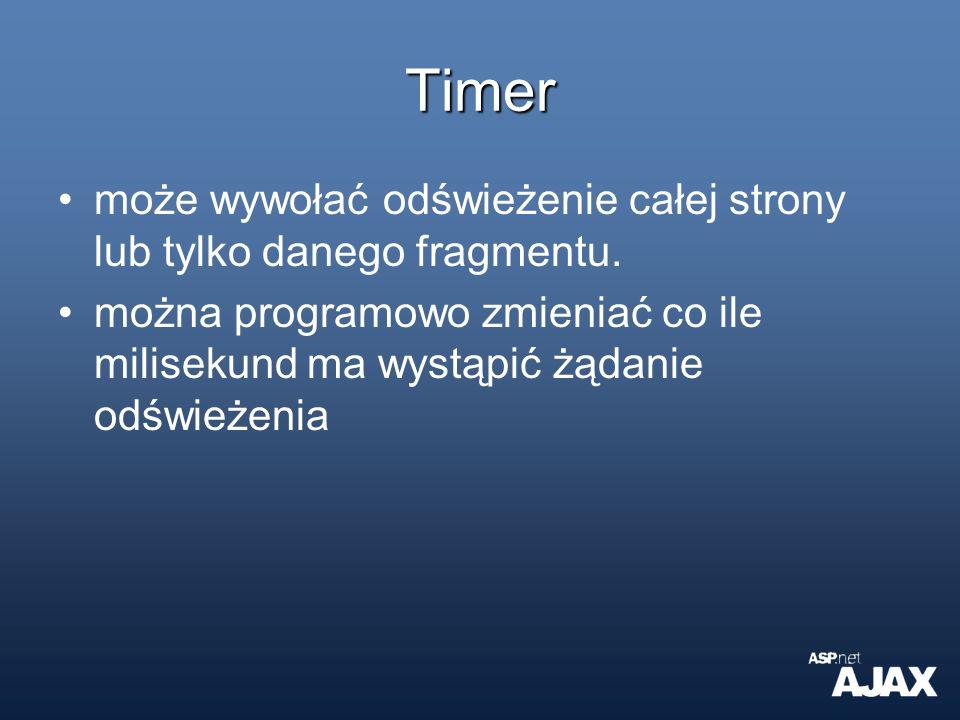 Timer może wywołać odświeżenie całej strony lub tylko danego fragmentu. można programowo zmieniać co ile milisekund ma wystąpić żądanie odświeżenia
