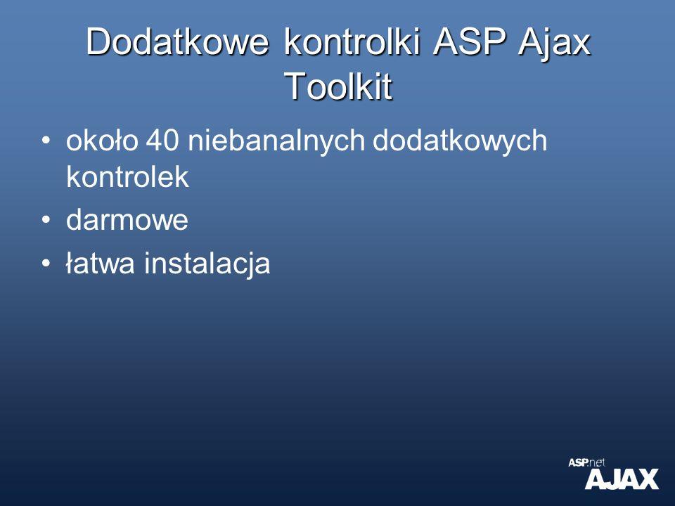 Dodatkowe kontrolki ASP Ajax Toolkit około 40 niebanalnych dodatkowych kontrolek darmowe łatwa instalacja