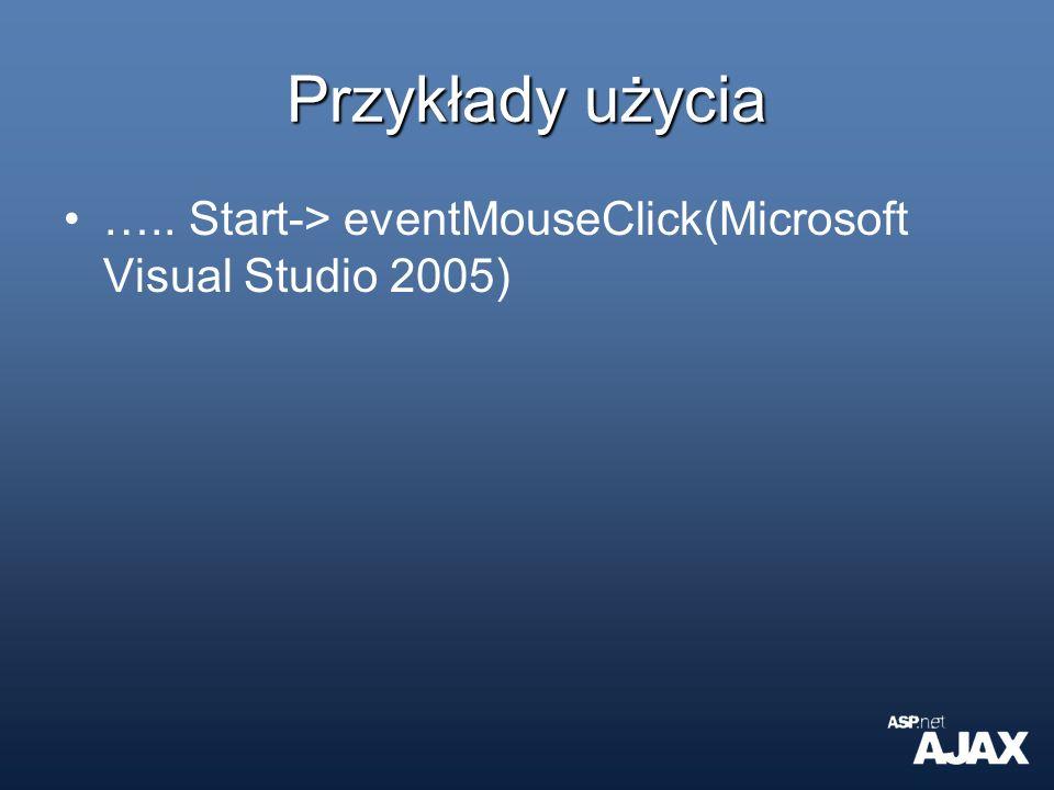 Przykłady użycia ….. Start-> eventMouseClick(Microsoft Visual Studio 2005)