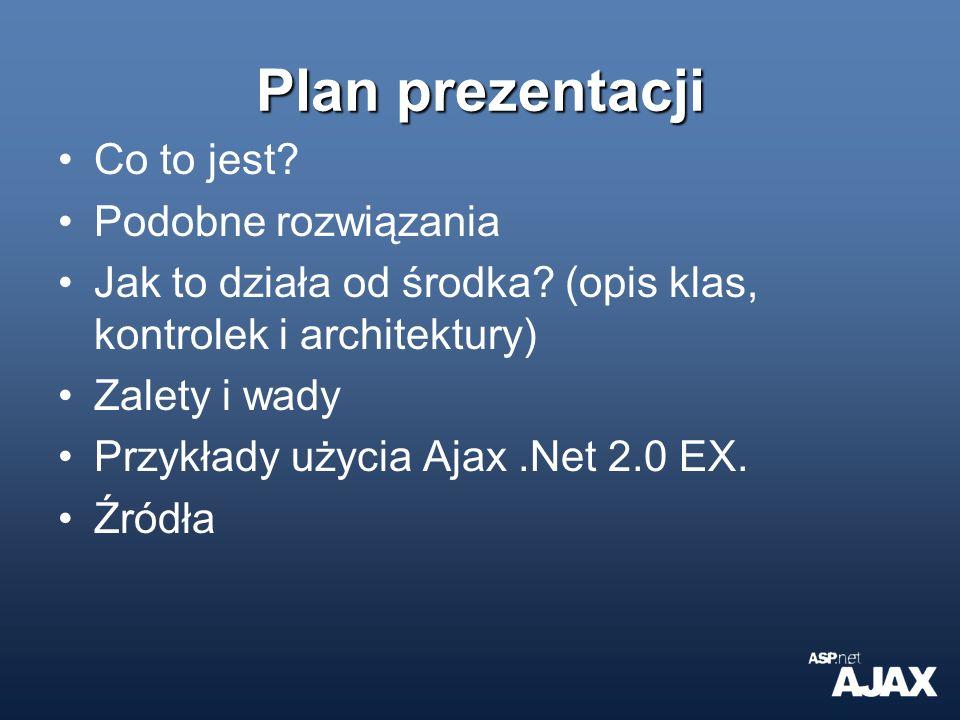 Zalety bardzo łatwa tworzenie stron Ajaxowych oraz łatwe zajAxowanie istniejącej strony wszystkie kontrolki z asp.net 2.0 (i nasze własne) działają, nie tak jak w przypadku innych Ajaxowych rozwiązań to działa pod większością przeglądarek