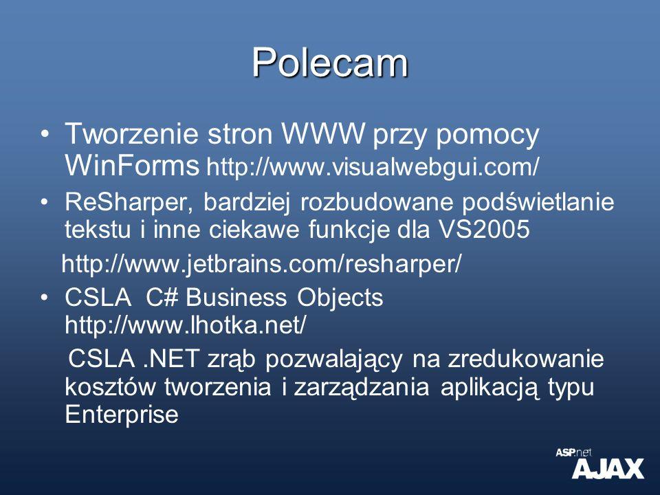 Polecam Tworzenie stron WWW przy pomocy WinForms http://www.visualwebgui.com/ ReSharper, bardziej rozbudowane podświetlanie tekstu i inne ciekawe funk
