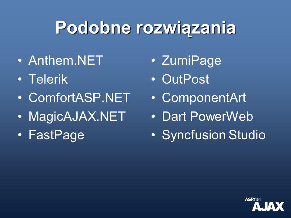 Podobne rozwiązania Anthem.NET Telerik ComfortASP.NET MagicAJAX.NET FastPage ZumiPage OutPost ComponentArt Dart PowerWeb Syncfusion Studio