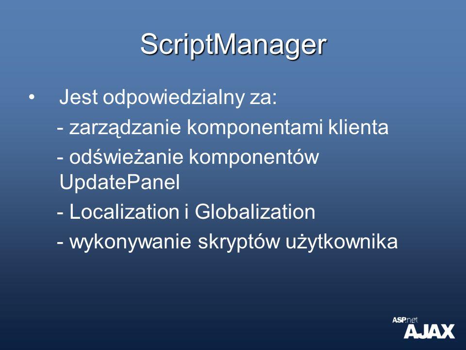 ScriptManager Jest odpowiedzialny za: - zarządzanie komponentami klienta - odświeżanie komponentów UpdatePanel - Localization i Globalization - wykony