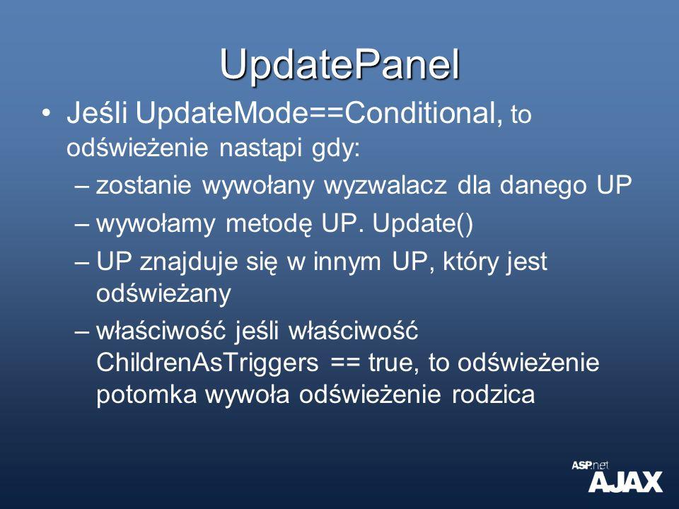 UpdatePanel Jeśli UpdateMode==Conditional, to odświeżenie nastąpi gdy: –zostanie wywołany wyzwalacz dla danego UP –wywołamy metodę UP. Update() –UP zn